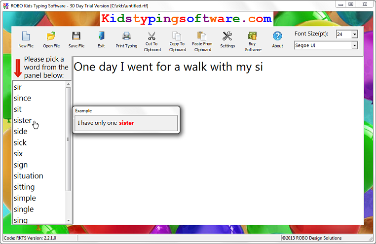 ROBO Kids Typing Software full screenshot